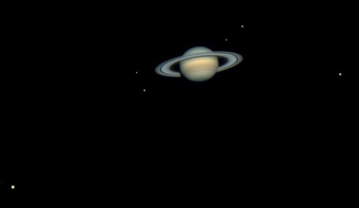 Saturn on night sky