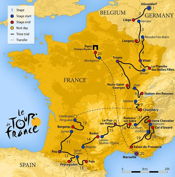 mapa Tour de France 2017 (autor: Sémhur, CC-BY-SA 4.0)