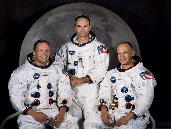 posádka lodi Apollo 11 - Neil Armstrong, Michael Collins, Edwin Buzz Aldrin (foto: NASA, public domain)