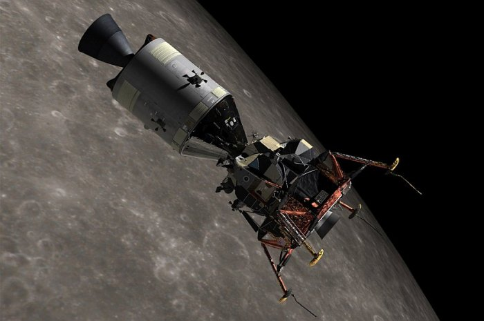 Apollo 11 spacecraft and lunar module on the orbit around the Moon (visualization)